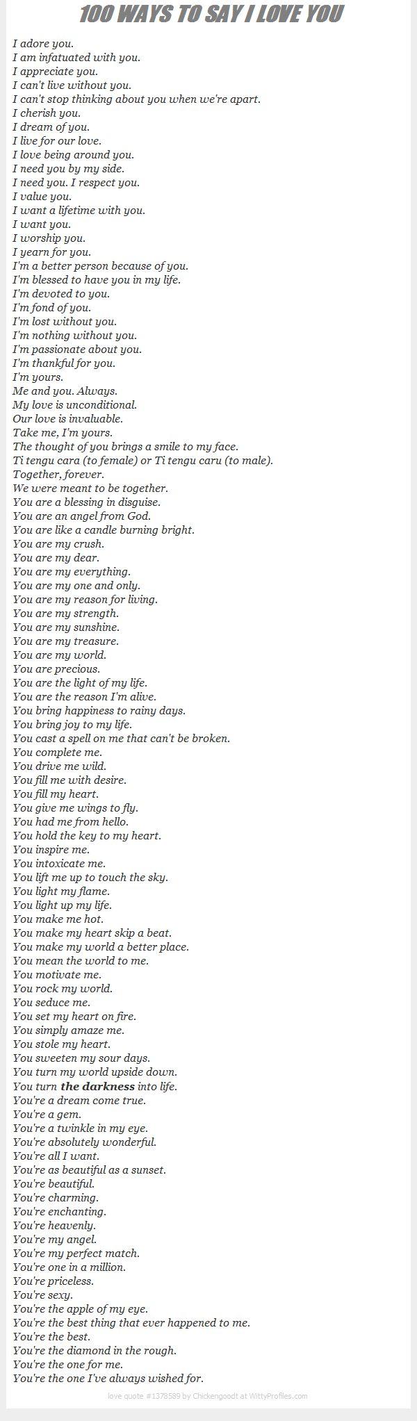 Bahasa Inggris Aku cinta kamu selain i love you