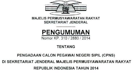 Penerimaan CPNS 2014 MPR RI